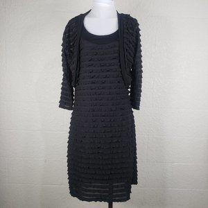 Fresh of LA Black Ruffle Tier Dress & Jacket L XL